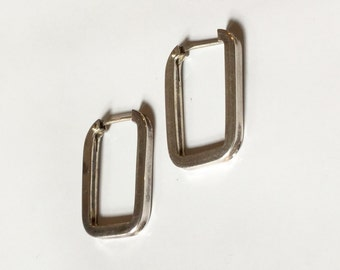 Sterling Silver Square Hoops 1""
