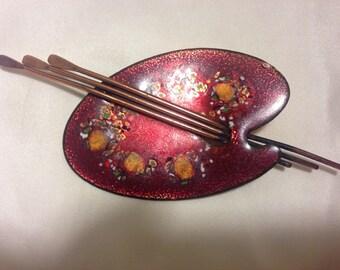 Matisse Enamel on Copper Brooch