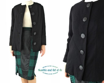 CLEARANCE! Vintage Black Wool Mod Blazer | Big Button A Line Jacket | breathe and let it be