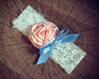 Bridal garter (Pink flower) Vintage wedding accessorie