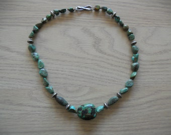 Sterling Silver and Turquoise Necklace.