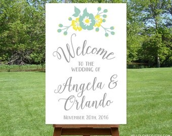 PRINTABLE Large Custom Wedding Sign | Floral Wedding Welcome Sign | Blue & Yellow Wedding Entrance Sign | Engagement Party Sign | DIGITAL