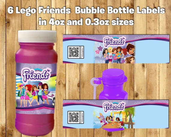 Lego Friends Inspired 4oz and 0.3oz Bubble Bottle Labels Lego Friends Bubble bottle labels Lego Friends Bubble Bottle wraps Friends Wrappers