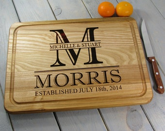 Engraved Cutting Board, Kitchen Decor, Chopping Block Anniversary gift Housewarming Gift, Monogram Cutting Board Personalized With Groove