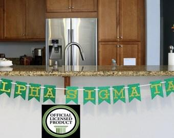 Alpha Sigma Tau Sparkly Emerald Green & Gold Glitter Banner