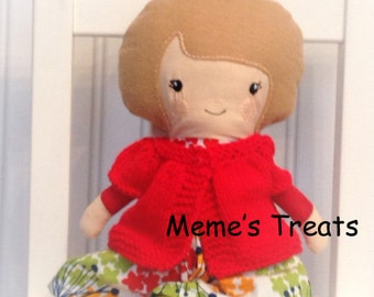 Fabric Doll Rag Doll Light Brown Haired Girl in Multi Color Dress and Red Sweater