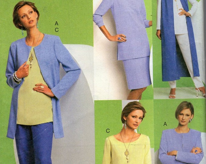 Free Us Ship Sewing Pattern Vogue 7739 Five Easy Pieces Separates Dress Duster Jacket Pants Skirt plus size Size 20 22 24 Bust 42 44 46