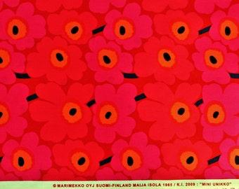 Marimekko cotton fabric, red Mini Unikko by Maija Isola 145x50cm