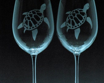 Wine glasses, etched turtle design, Set of 2