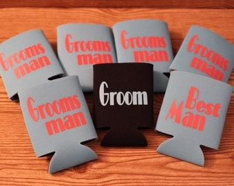 Groomsman Can Coolers, Set of Can Coolers, Set of Can Huggies, Groomsman Gifts, Groomsman Can Huggies, Can Coolers, Can Huggies