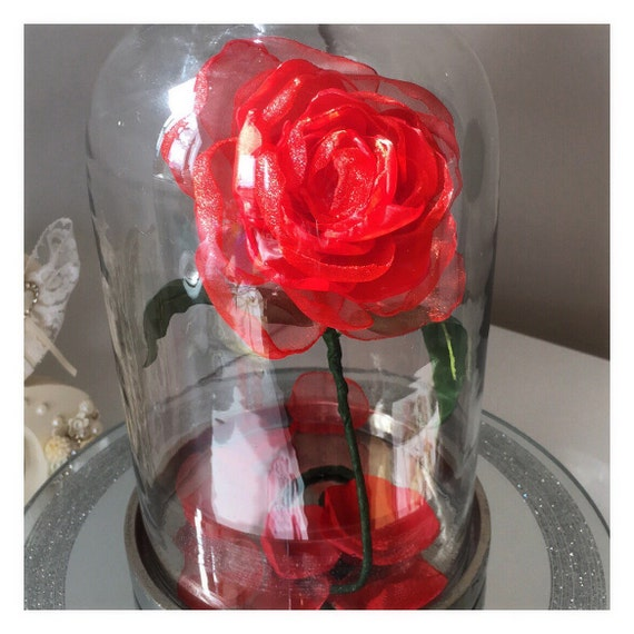 Beauty the beast centerpiece enchanted rose in cloche