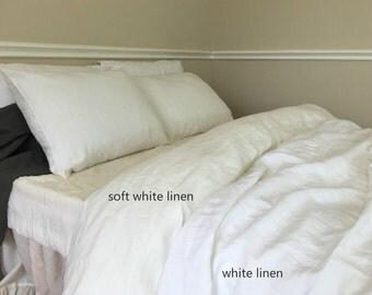 SOFT White linen duvet cover made of 100% ultra soft linen, white bedding, queen duvet cover, king duvet cover, linen bedding