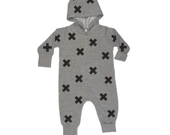 Baby onesie cross print