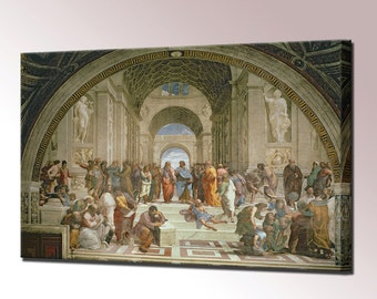 School of Athens Canvas Print Framed Stanza della Segnatur Fresco by Raphael Wall Art Picture Ready To Hang