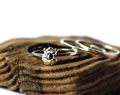 Frog ring sterling silver. Tiny sterling silver set of 3 rings, stacking ring, hammered band ring