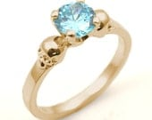 Skull Ring 9ct Gold DiamondUnique Hand Crafted Engagement Ring set with Aquamarine