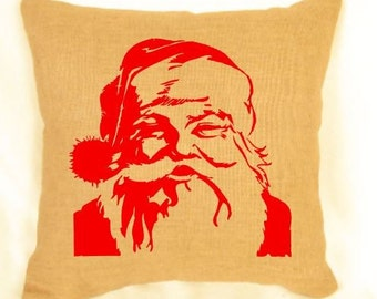Burlap santa pillow, christmas, gift, home decor, decorative, santa claus, rustic
