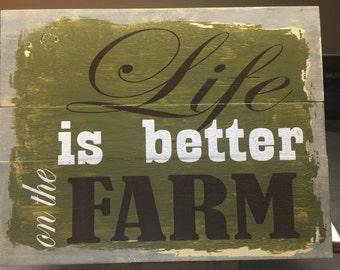 Farm wood sign, home decor sign, farm sign,wood farm sayings