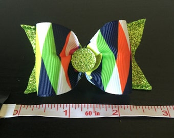 Bling green dog bow
