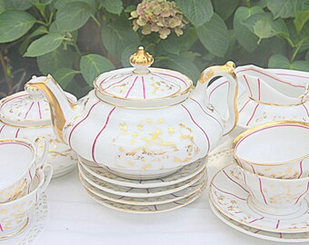 Beautiful Porcelain Teaset, Tea Service, Gilded Bird and Floral Decor, Partly Handpainted