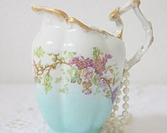 Lovely Antique Limoges Porcelain Creamer, Gradient Aqua with Handpainted Purple Flower Pattern, France