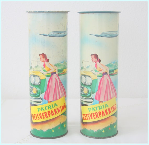 Set of Two Vintage Patria Dutch Biscuit Tins, Travel Pack, Fifties