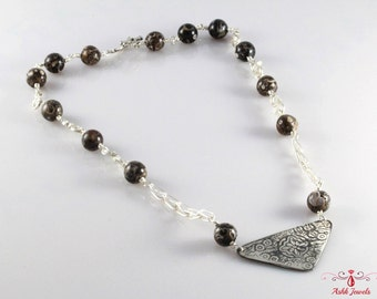 Handmade Fine Silver Necklace with Turritella Agate
