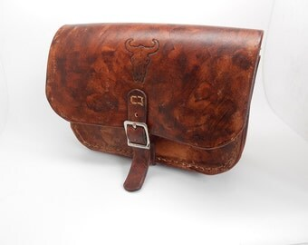 belt western aspect brown leather vieillli pouch