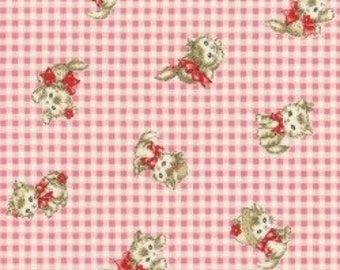 Pocket Kittens - Valentine Kittens on Small Pink Gingham Background by the Half Yard