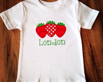 Strawberry applique shirt with name, personalized girls clothes, custom name children's shirt