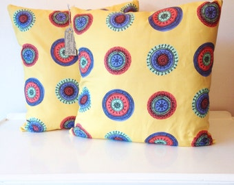 Yellow patterned designed by yellowfred creative cushion covers including filler