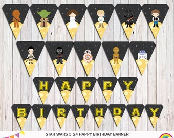 Star Wars Birthday Banner Printable, Star Wars Bunting, Party Supplies, Superhero Party Instant Download