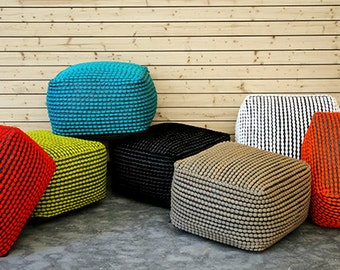 knitted cotton ottoman/poof.PRE-STUFFED floor cushion seating available in many colors