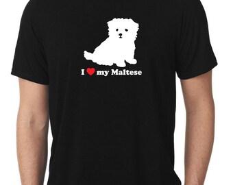I Love My Maltese T-Shirt puppy v2 T137