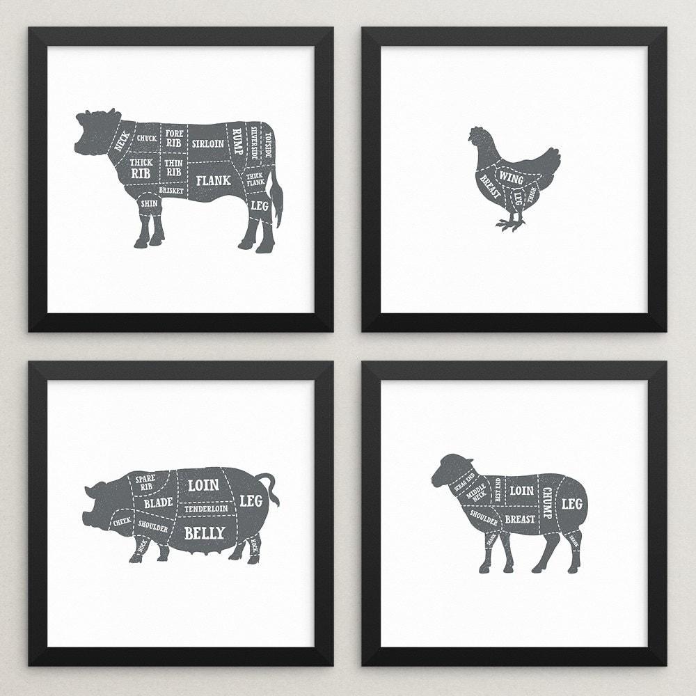 Butchers Kitchen Print : Set of 4 butcher prints Butcher poster set Butcher chart