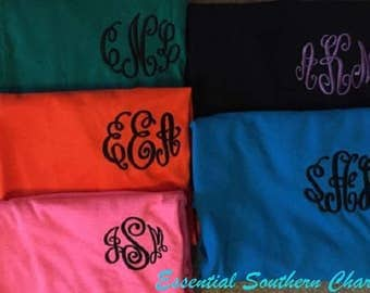 Monogram Shirt   Embroidered Long Sleeve Tshirt   Personalized   Initials   Gift for Her   Personalized Gift