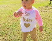 Big Sister Shirt Baby Announcement Shirt Girl Sibling Shirts New Baby Announcement Shirt Big Sister Raglan Gold Glitter Heart 037