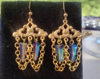 Gold  Filigree Earrings with Artemis Swarovski crystals