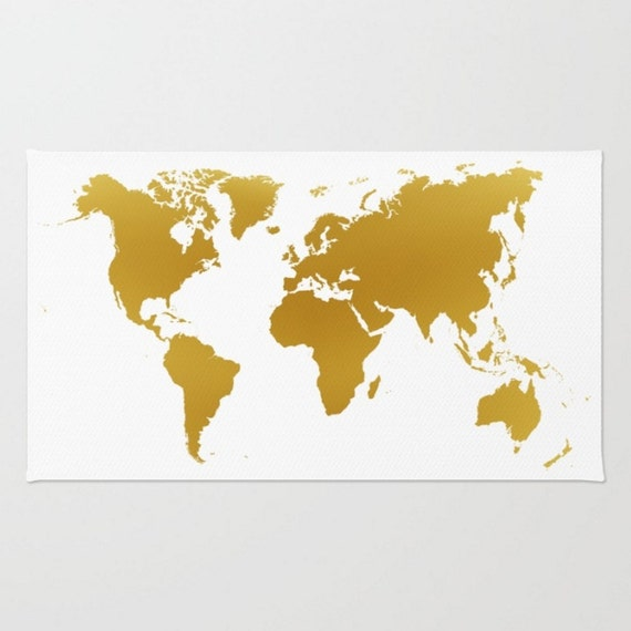 World Map Throw Rug: Items Similar To Area Floor Rug White Gold World Map Throw