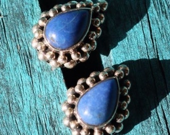 Vintage Sterling Silver 925 Southwestern Lapis Earrings