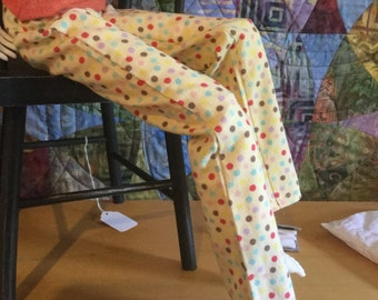 SD girls yellow polka dot flannel pj bottoms