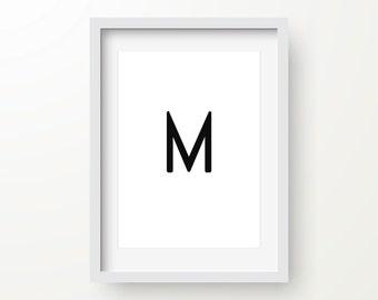 Letter M Print, Modern Art, Alphabet Poster, Abstract Art, Digital Wall Print