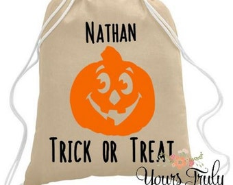 Halloween trick or treat bag, Personalized Halloween Bag, Custom Halloween Tote, Goodie Bag, Personalized Trick or Treat Bag, Pumpkin Bag