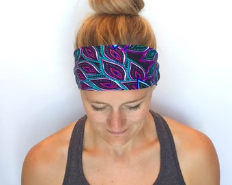Fitness Headband - Workout Headband - Running Headband - Yoga Headband - Moonlit Peacock