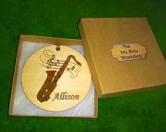 Saxophone Personalized Engraved Ornament