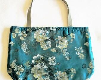 Brocaded Tote Bag, Teal