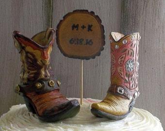 Rustic Cake Topper, Rustic Wedding Cake Topper, Western Wedding, Country Wedding, Cowboy Boot Cake Topper, Rustic Wedding, Barn Wedding Cake