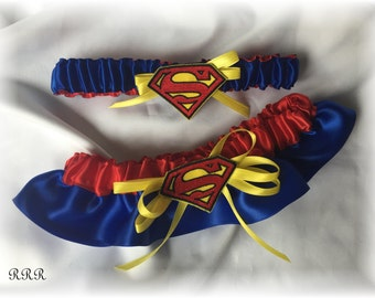 Superman Wedding Bridal Garter Set, Superman Bridal Garter Set, Blue Red Yellow Bridal Garter, Superhero Bridal Garter, Superhero Wedding