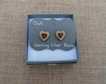 Oak Heart witin Heart Stud Earrings
