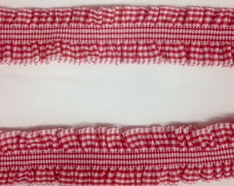 "RED CHECK Plaid Elastic Ruffle 4 Yards by 1"" wide Trim - DIY Showers Birthday Packages, Homemade Gifts, Card, Crafts Party by the yard"